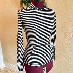 J CREW Black & White Stripe Hooded Top - XS